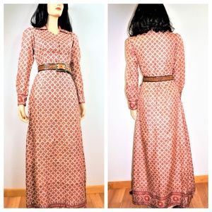 70 India Batik Silk Bohemian Gypsy Dress